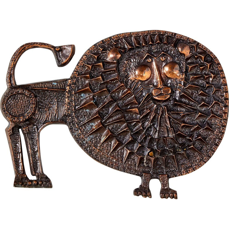 Vintage Bronze Lion Wall Ornament by Ottó Kopcsányi for Hungarian Craftsmanship Company 1970s