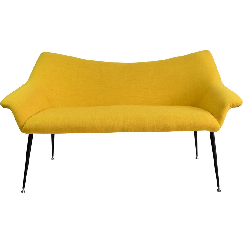 Vintage Two-seater sofa yellow fabric chrome, Deutsche Democratic Republic 1960s