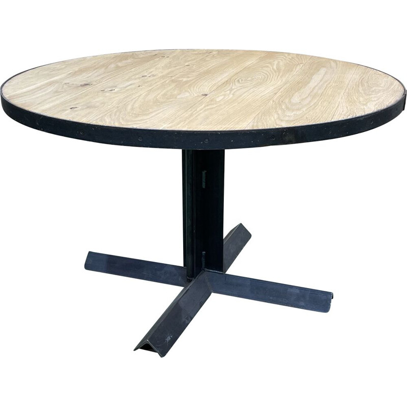 Vintage round industrial table with oak top and metal legs
