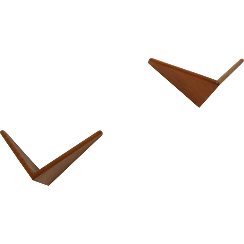 Pair of vintage Teak Butterfly Shelves by Poul Cadovius for Cado, Denmark 1950s