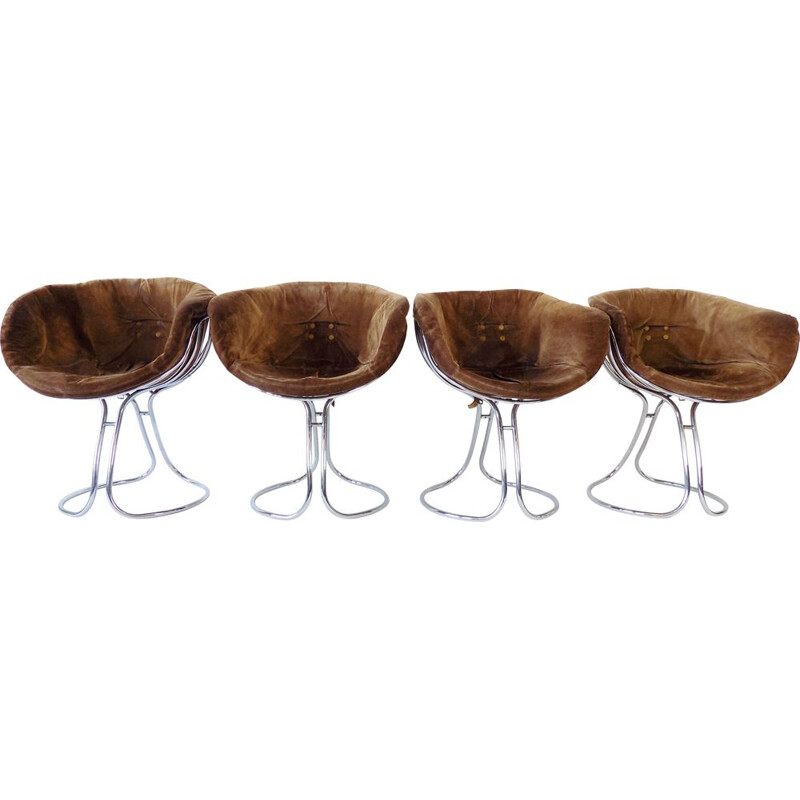 Set of 4 vintage Rima Pan Am suede dining chairs by Gastone Rinaldi