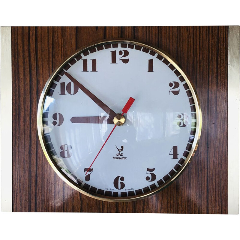 Vintage brass and formica clock by JAZ 1970s
