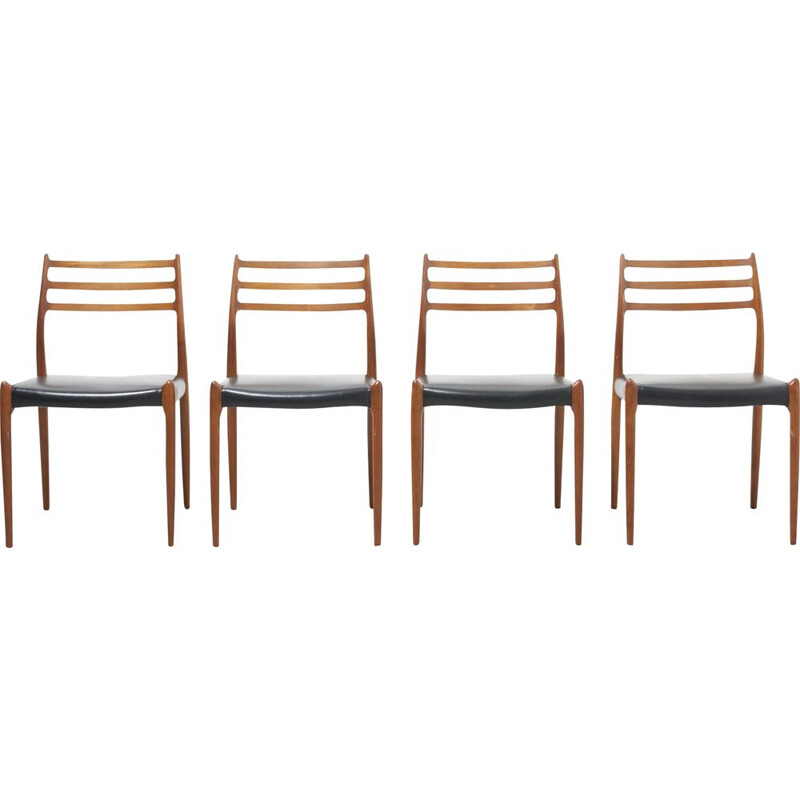 Set of 4 vintage Dining Chairs by Niels O. Moller for J.L. Mollers Mobelfabrik, Denmark 1950s