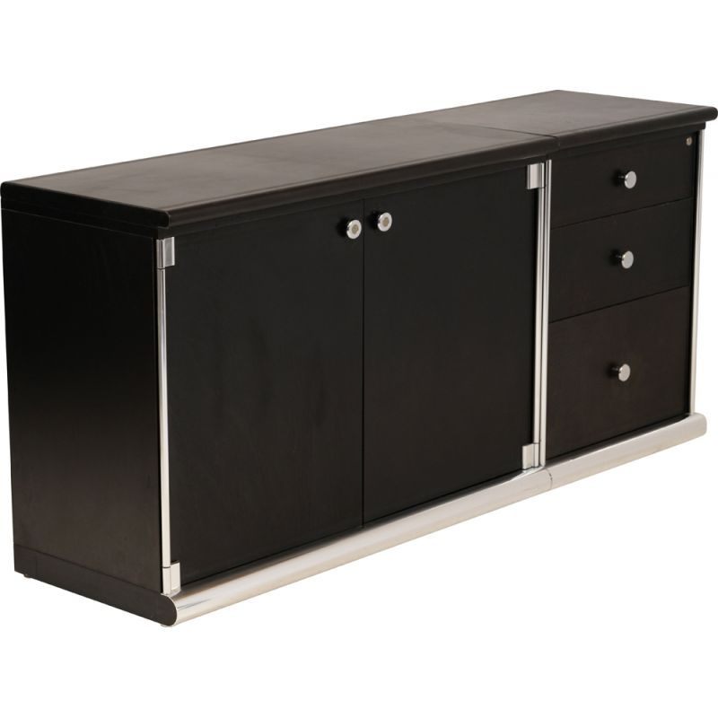 Vintage Mariani two-piece black leather highboard by Guido Faleschini 1970