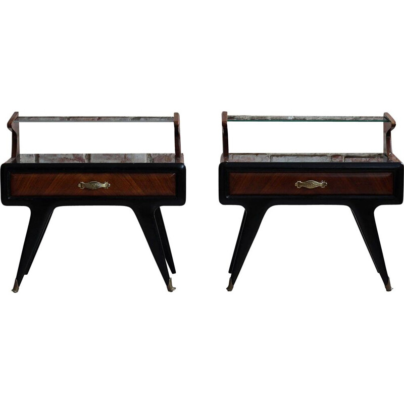 Pair of vintage night tables, Paolo Buffa Italian 1950