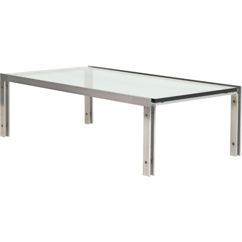 Vintage glass coffee table by Horst Bruning 1970