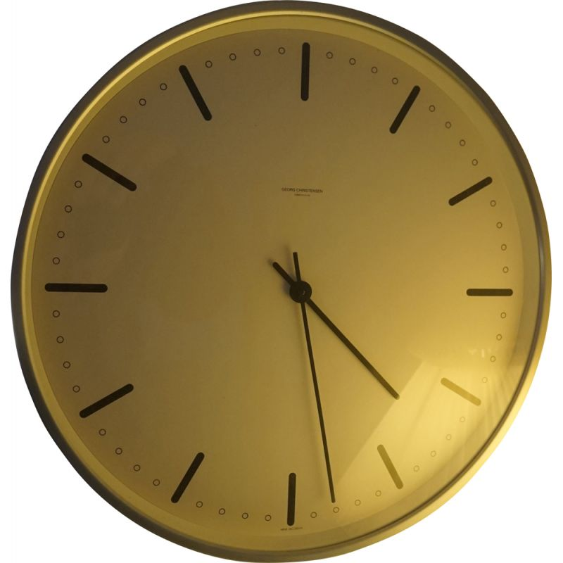 Vintage City Hall wall clock by Arne Jacobsen for Georg Christensen