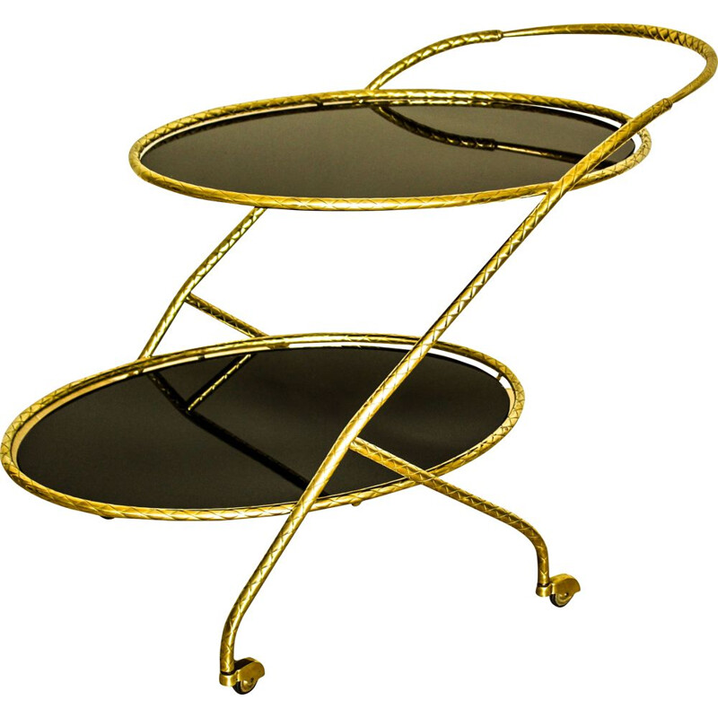 Vintage brass oval trolley with black mirror glass on 2 levels, Italy 1950