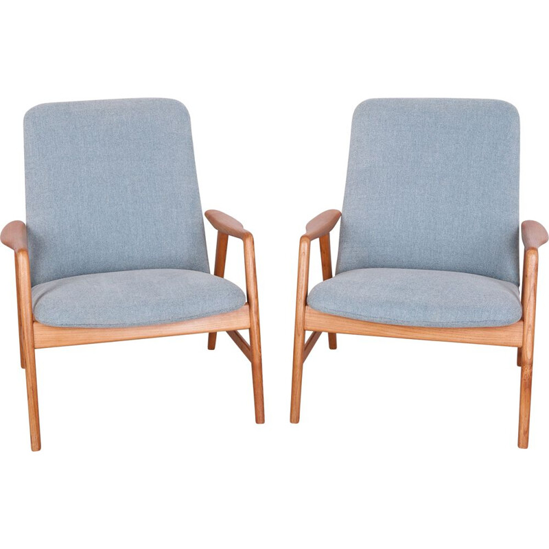 Set of 2 vintage lounge chairs by Alf Svensson for Fritz Hansen, 1960s