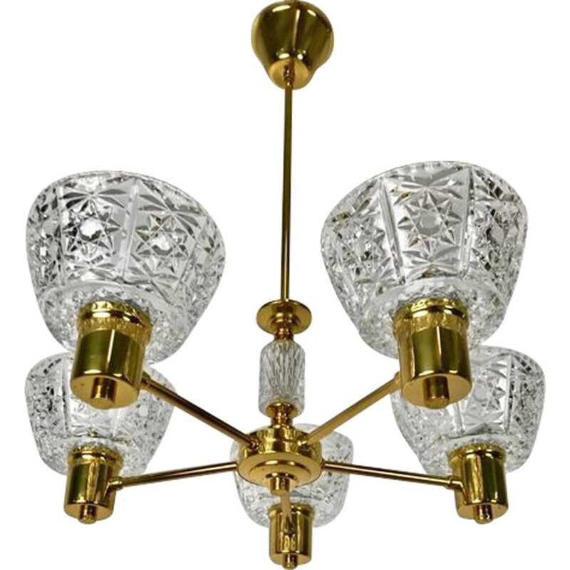 Vintage crystal chandelier by Carl Fagerlund, Sweden 1960
