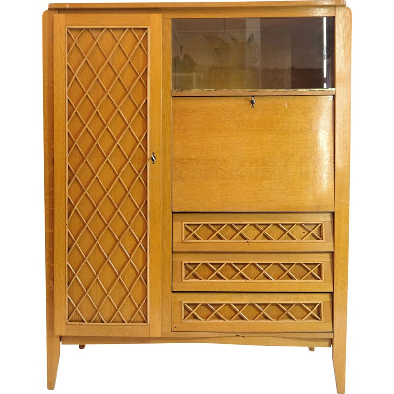 Vintage wood and rattan secretary cabinet 1960s