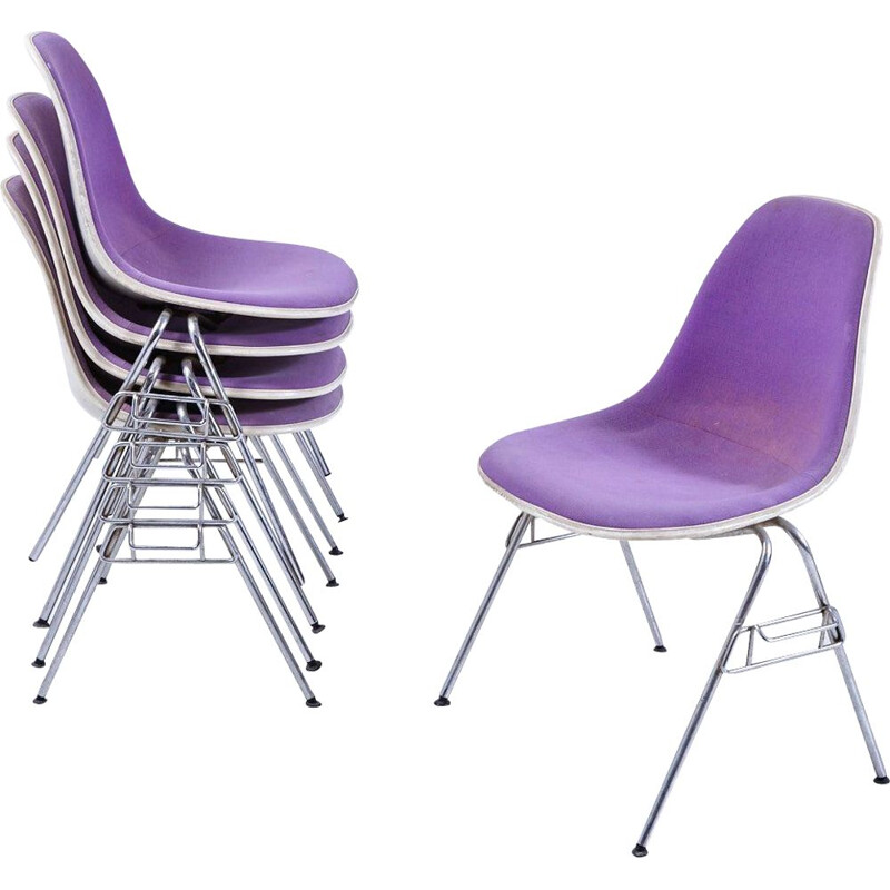 Vintage DSS-N Upholstered Fibreglass Stackable Chair by Charles & Ray Eames for Herman Miller 1950s
