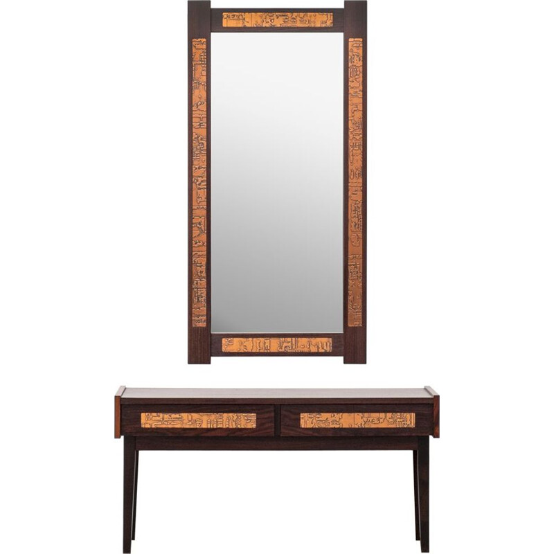 Vintage Rosewood Console and Mirror from J. Holmer-Hansen 1970s