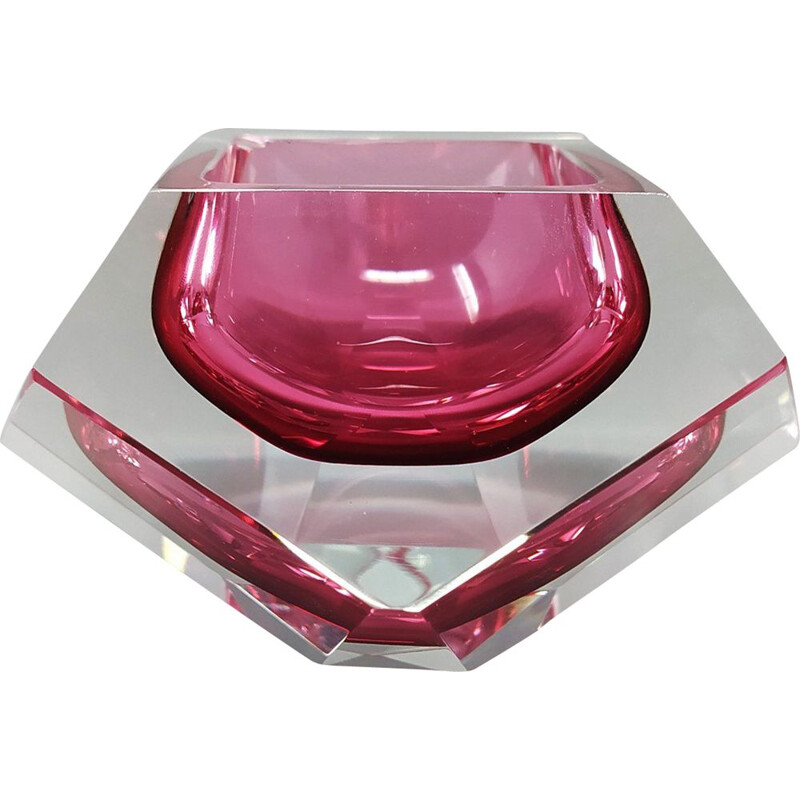 Vintage Pink Ashtray or Catch-All By Flavio Poli for Seguso. Italy 1960s