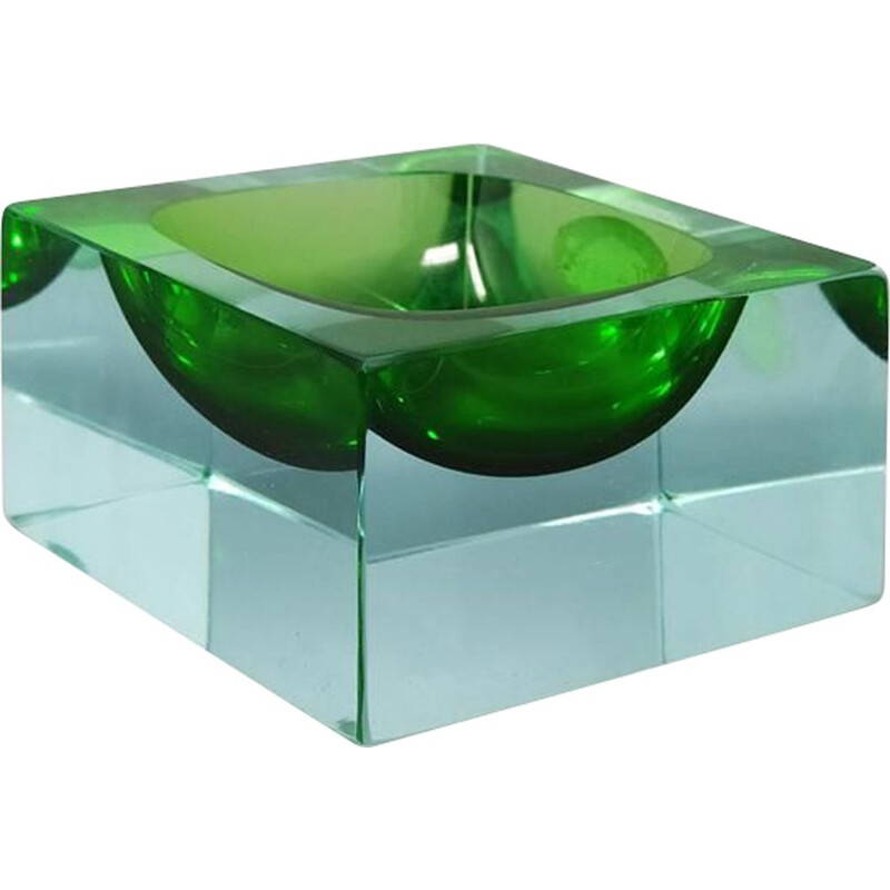 Vintage Green Ashtray or Catch-All By Flavio Poli for Seguso, Italy 1960s