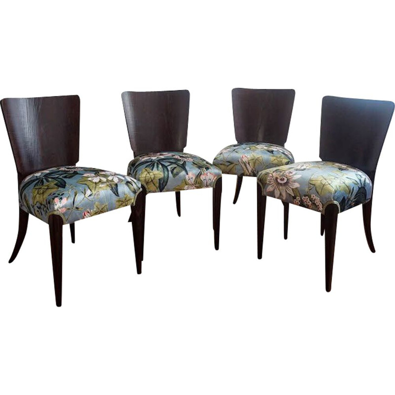 Set of 4 vintage art deco chairs by Jindrich Halabala for Up Zavody 1940s