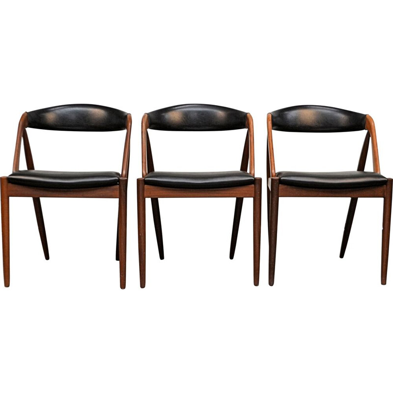 Set of 3 vintage teak chairs model 31 by Kai Kristiansen for Schou Mobelfrabrik 1960s