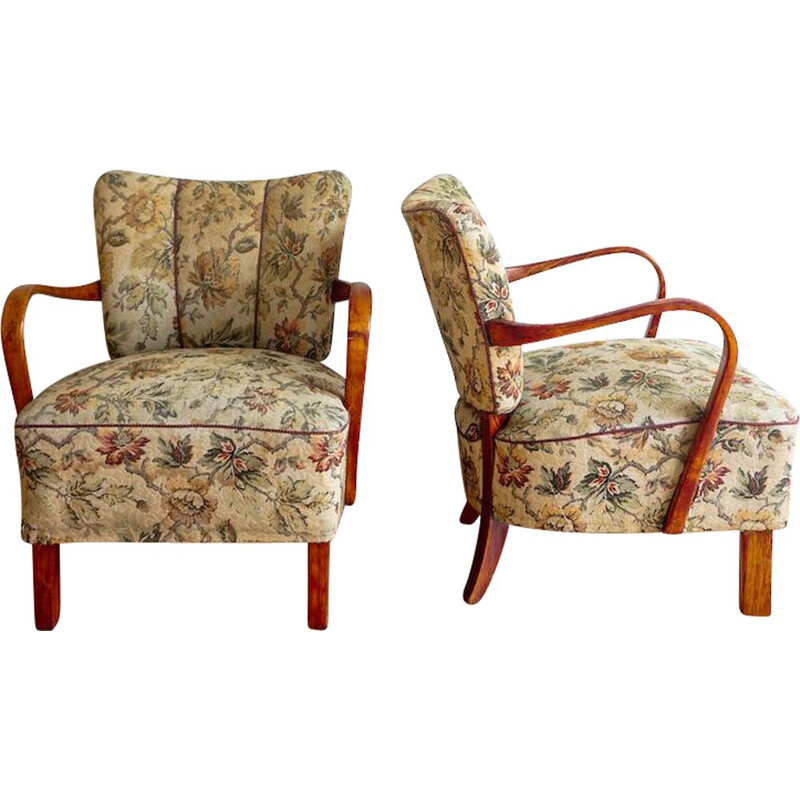 Pair of vintage armchairs by J. Halabala 1950s