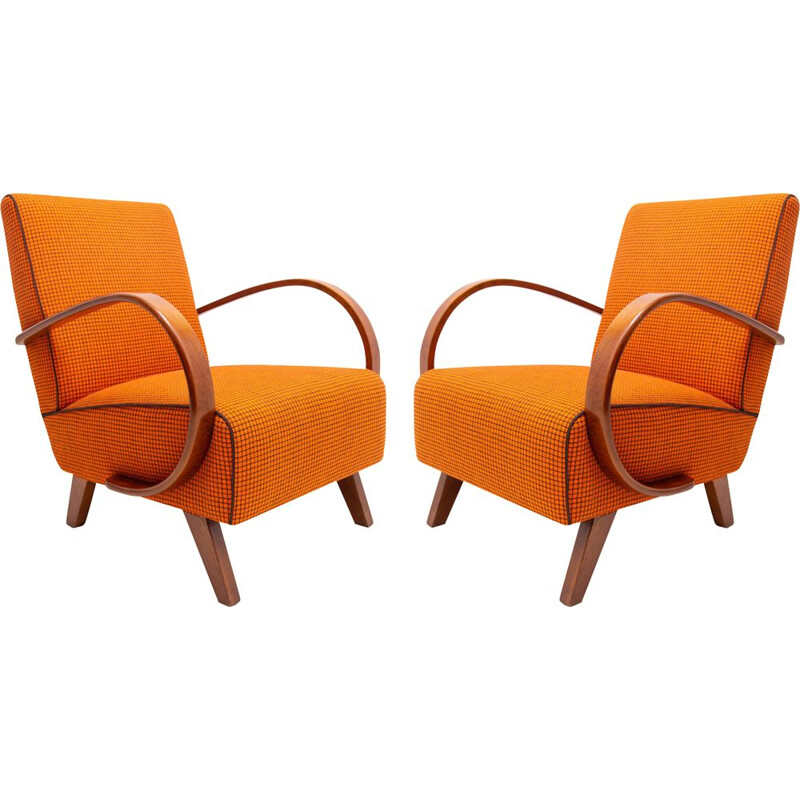 Pair of vintage bentwood armchairs by Jindřich Halabala for UP Závody 1950s