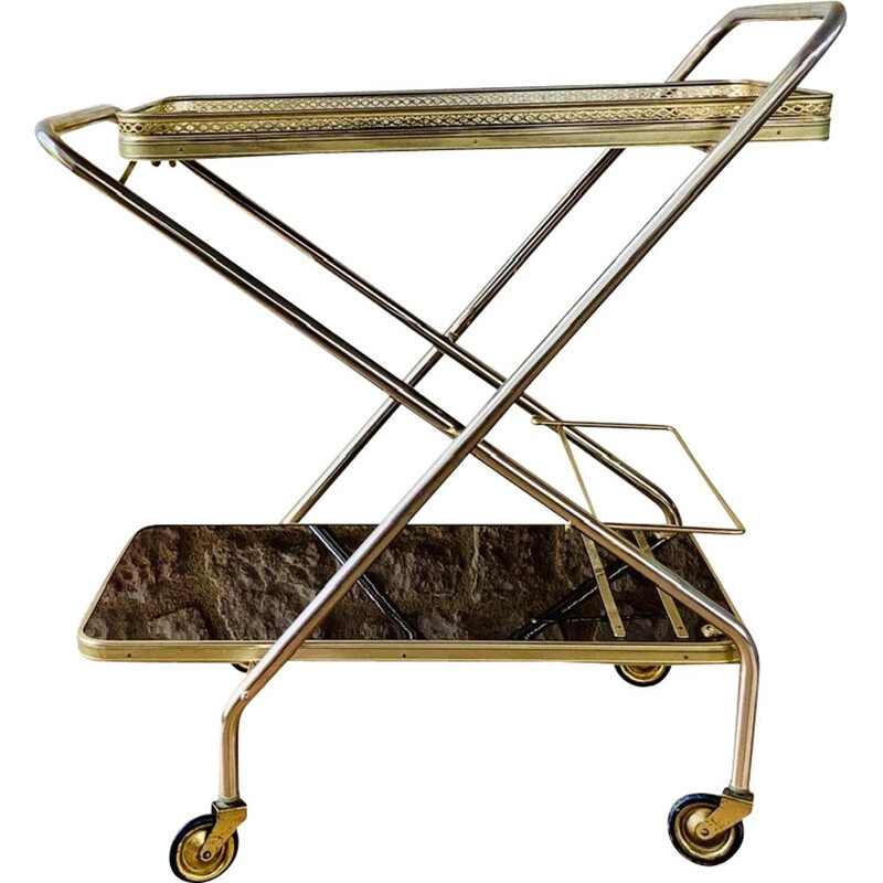 Vintage Brass Bar Cart With Formica Trays On Multi- Directional Wheels 1960s