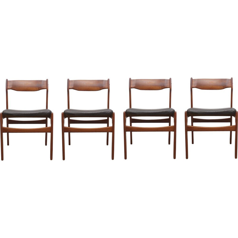 Set of 4 vintage dining chairs in teak leather by Erik Buch
