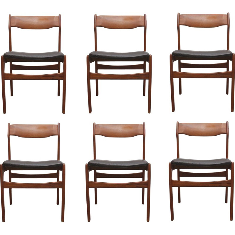 Set of 6 vintage dining chairs teak leather by Erik Buch