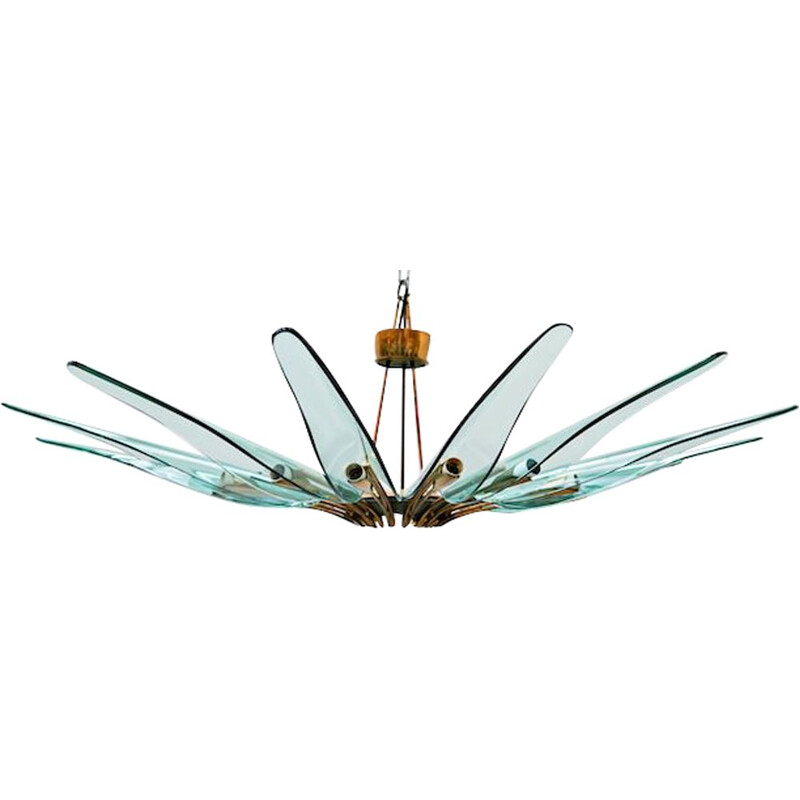 Vintage Dahlia chandelier, model 1563A, by Max Ingrand for Fontana Arte, Italy 1950