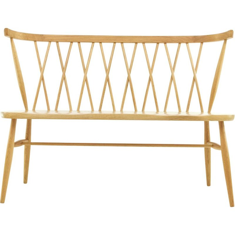 Vintage modern bench in blond elm by Ercol