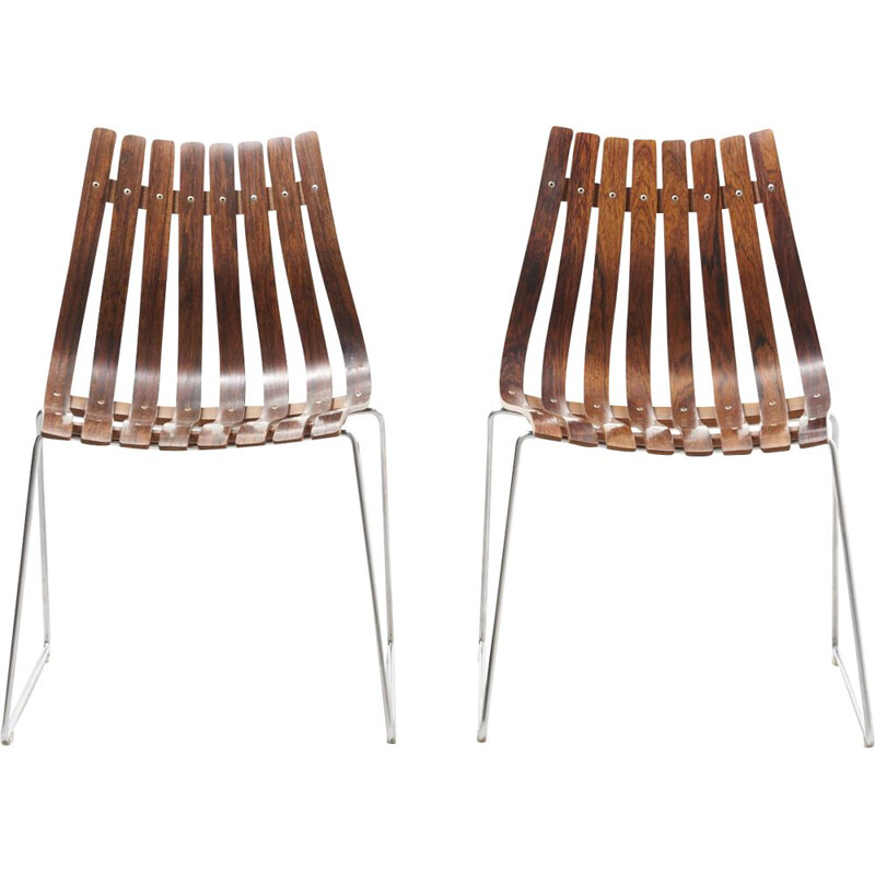 Pair of vintage slatted chairs by Hans Brattrud for Hove Mobler, Norway 1960