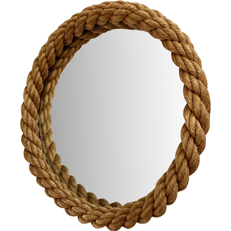 Vintage rope mirror by Audoux & Minet, France 1950