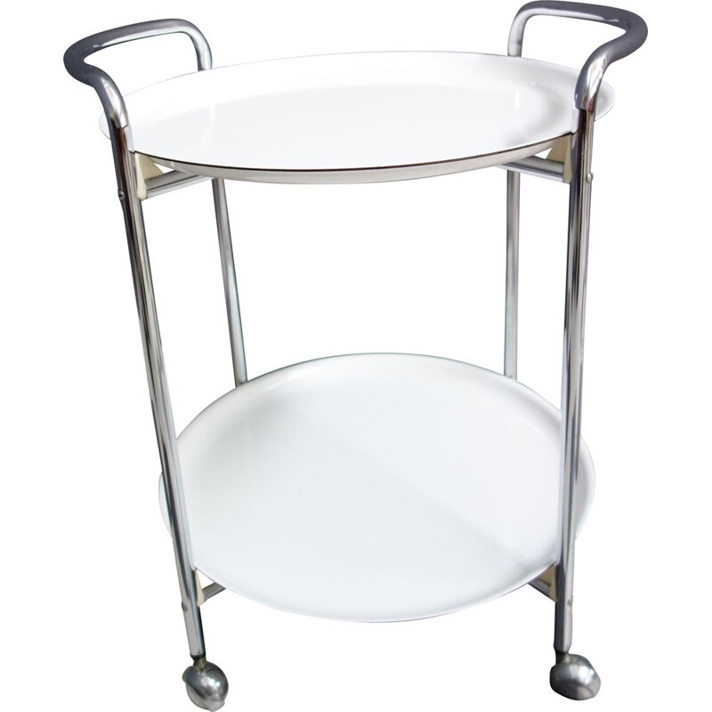 Vintage White an Chrome serving trolley by PK 1970s