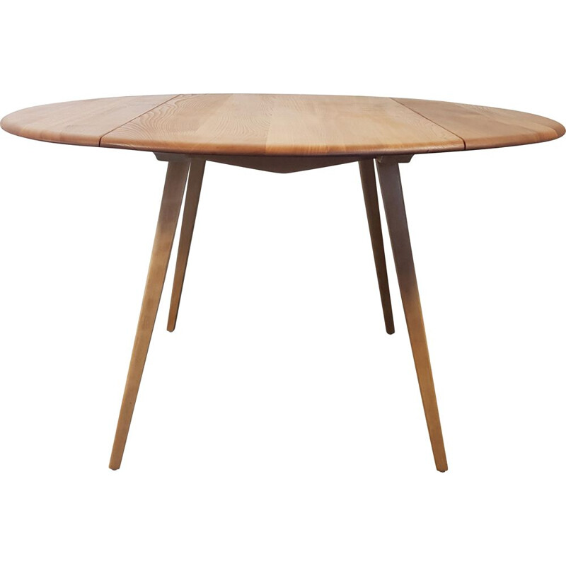 Vintage Ercol Round Drop Leaf Dining Table, English 1960s