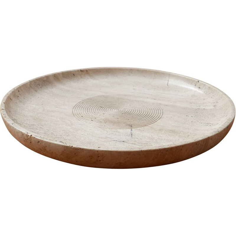 Vintage Travertine Bowl in manner of Giusti and Di Rosa for Up & Up, Italian 1970s