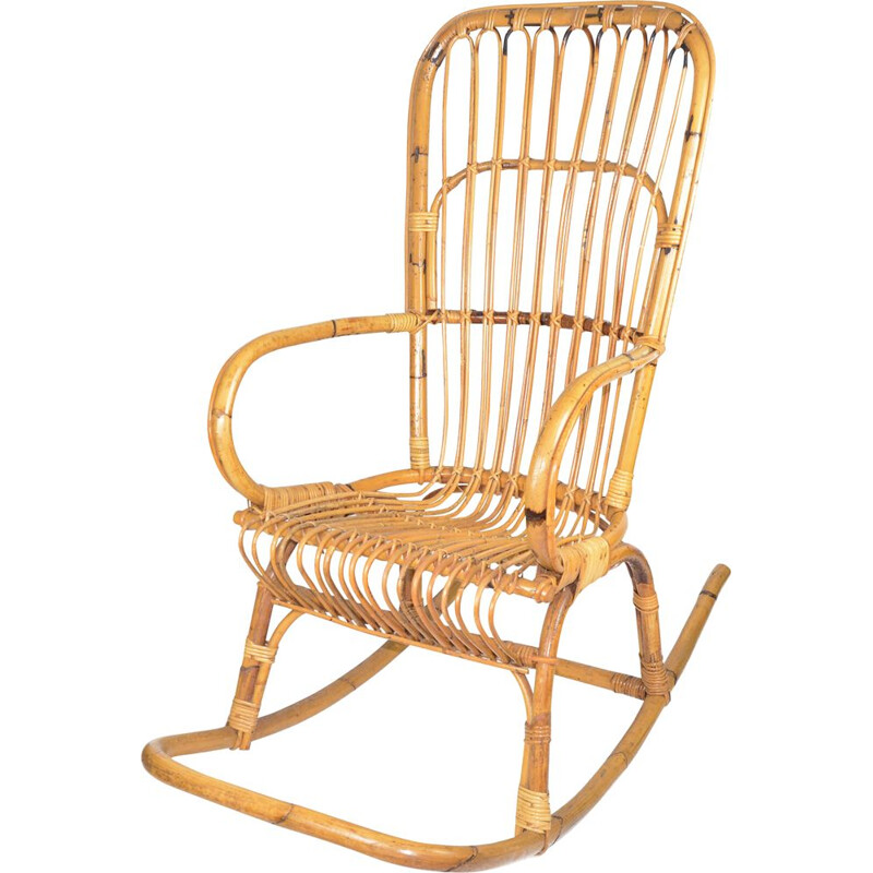 Vintage rattan rocking chair, Denmark 1970