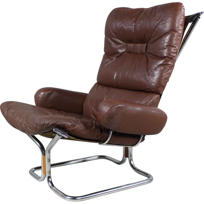 Vintage Leather And Rosewood Lounge Chair by Harald Relling for Westnofa 1970s