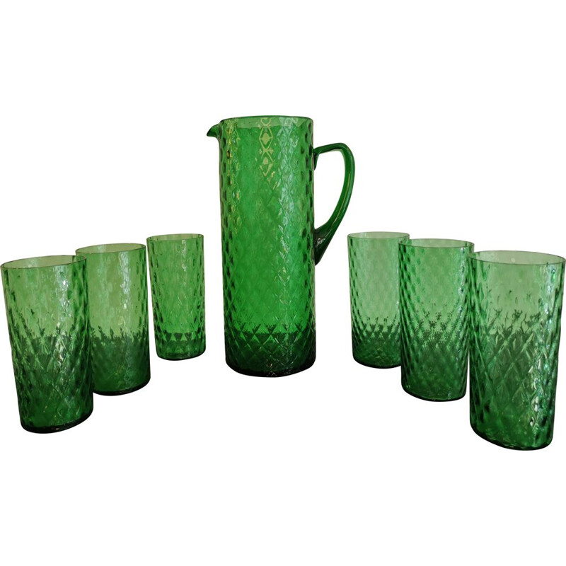 Vintage orangeade set with emerald green facet 1960s