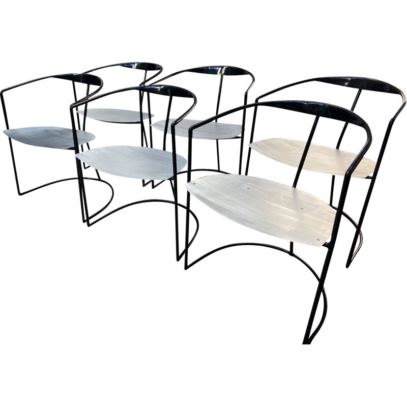 Vintage table and 6 chairs set by Pol Quadens 2000s