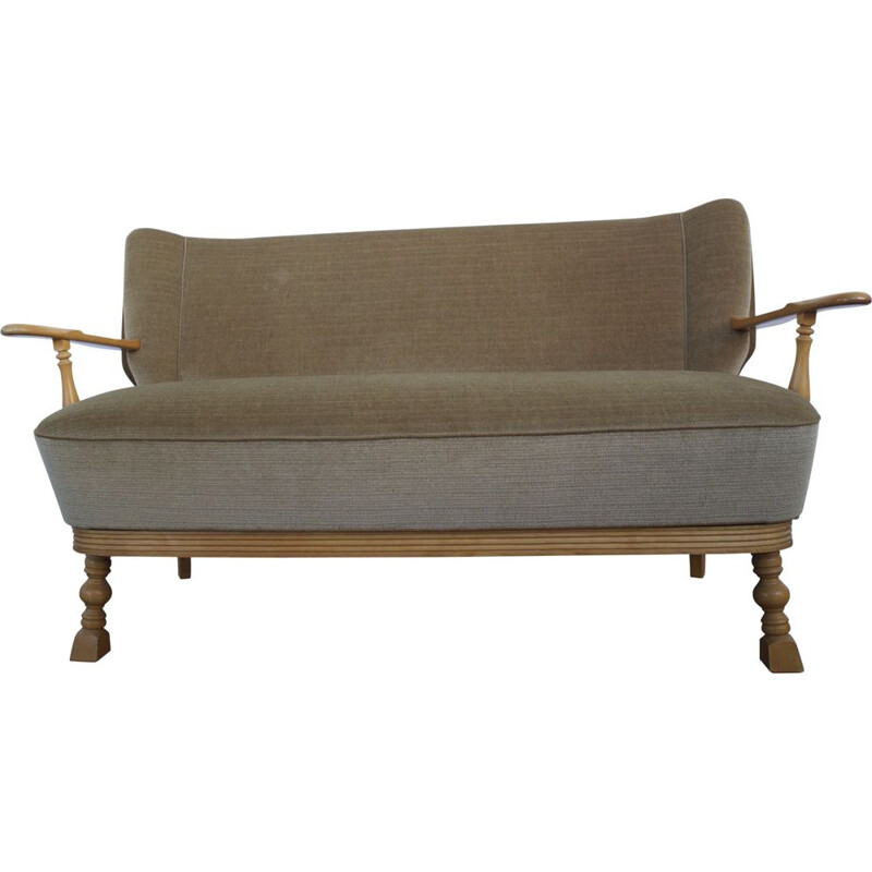 Vintage 2 Seater Sofa Beige velours With Armrests 1950s