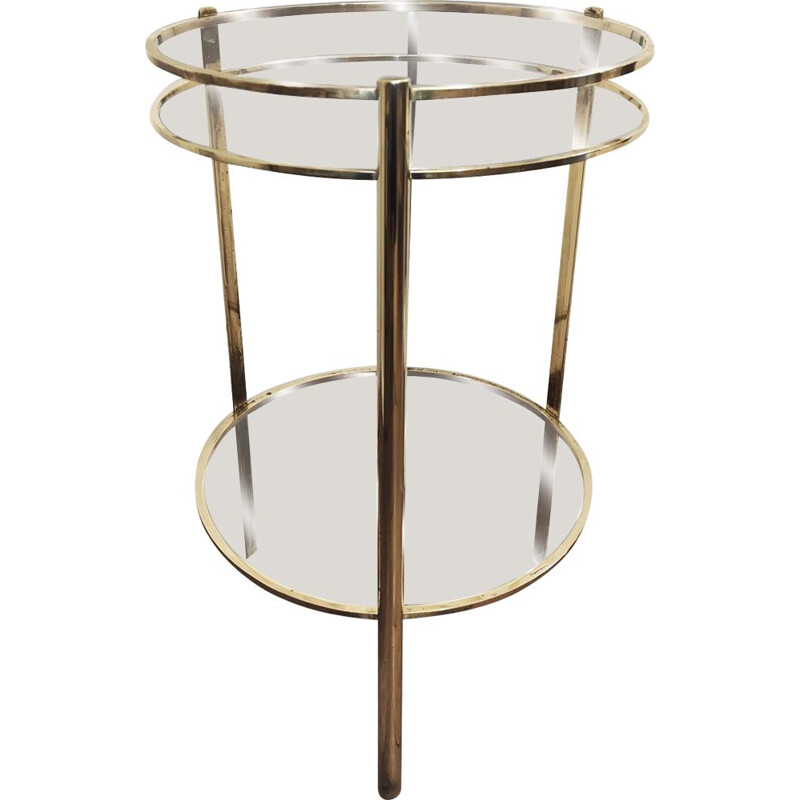 Vintage bronze pedestal table with two trays from Malabert 1970s