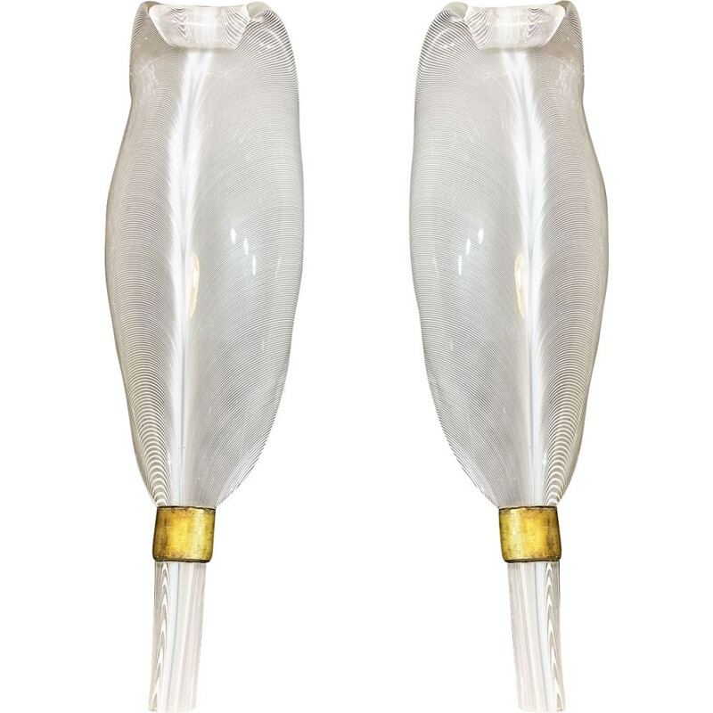 Pair of vintage sconces in filigree glass and gilt bronze for Paolo Venini