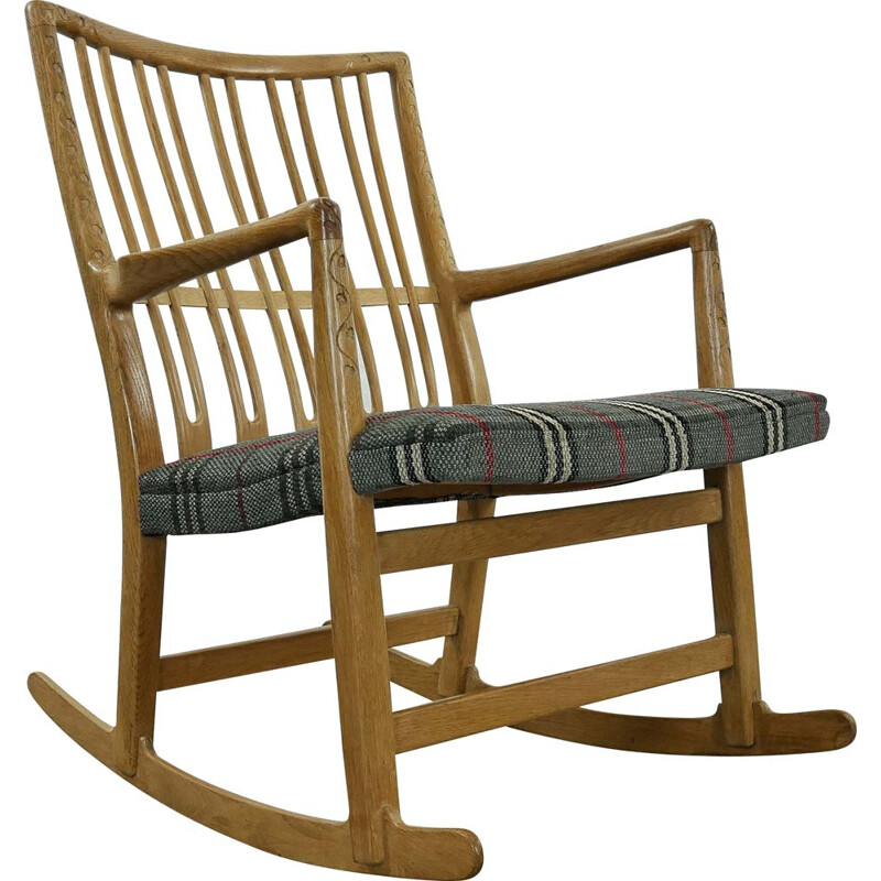 Vintage Rocking Chair ML-33 by Hans J. Wegner with Floral Carvings for Mikael Laursen 1940s