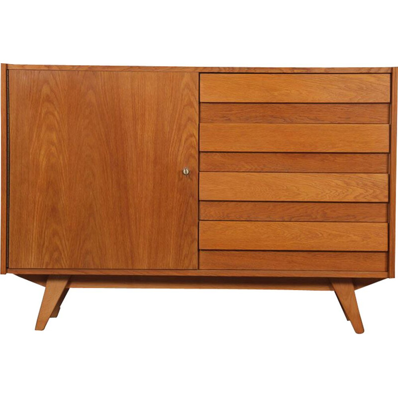 Vintage oak storage unit model U-458 by Jiri Jiroutek 1960s
