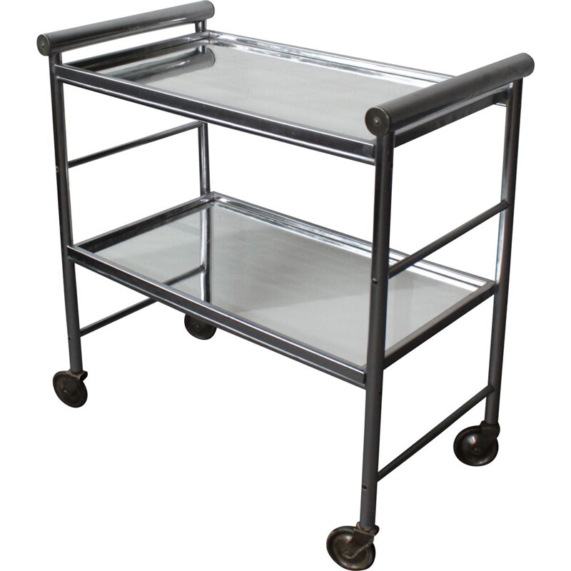 Vintage aluminium bar cart with 2 mirrored trays 1960s