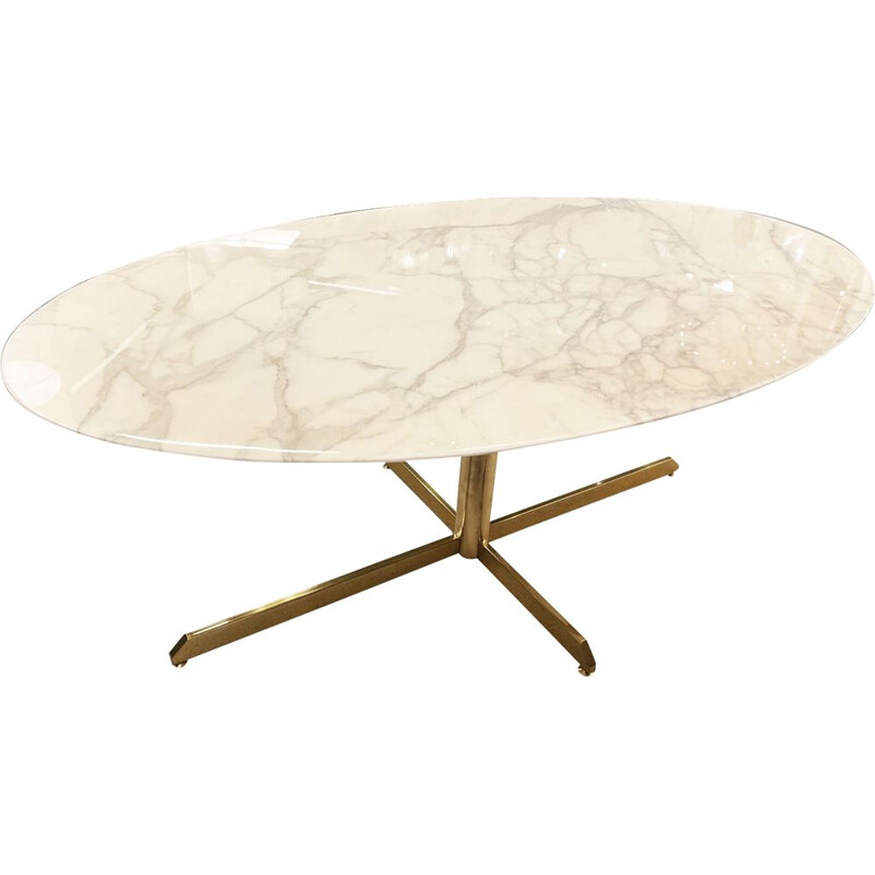 Vintage oval marble table by Florence Knoll for Roche Bobois 1960