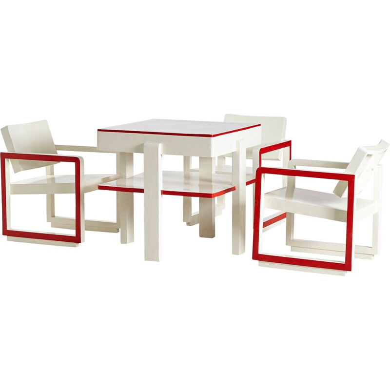 Vintage Red & White Bauhaus Armchair and Table