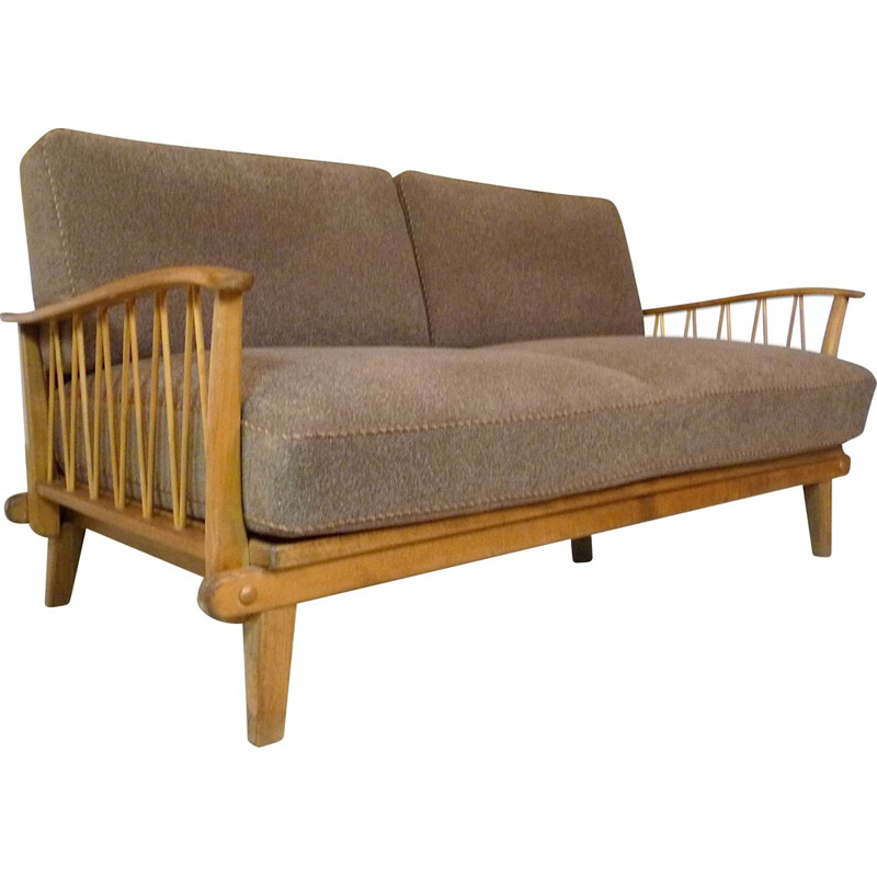 Vintage sofa in wood and wool by Wilhelm Knoll - 1960