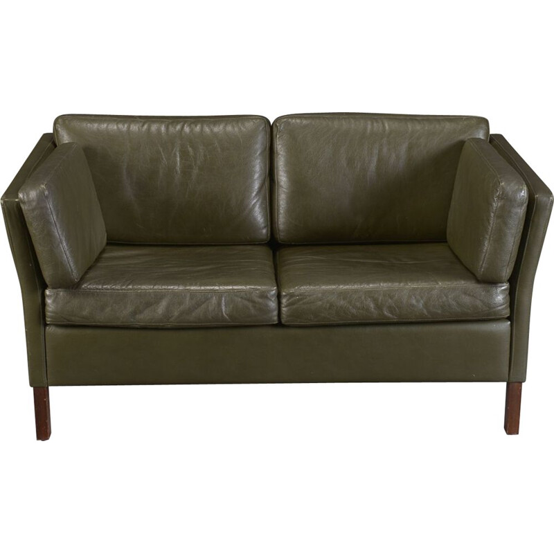 Vintage 2 seater sofa upholstered in green leather, Danish