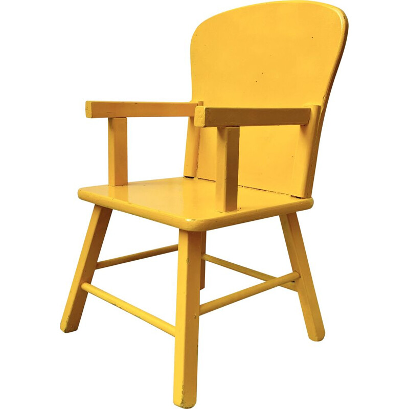 Vintage Wooden Child's Kids Chair Yellow 1960s