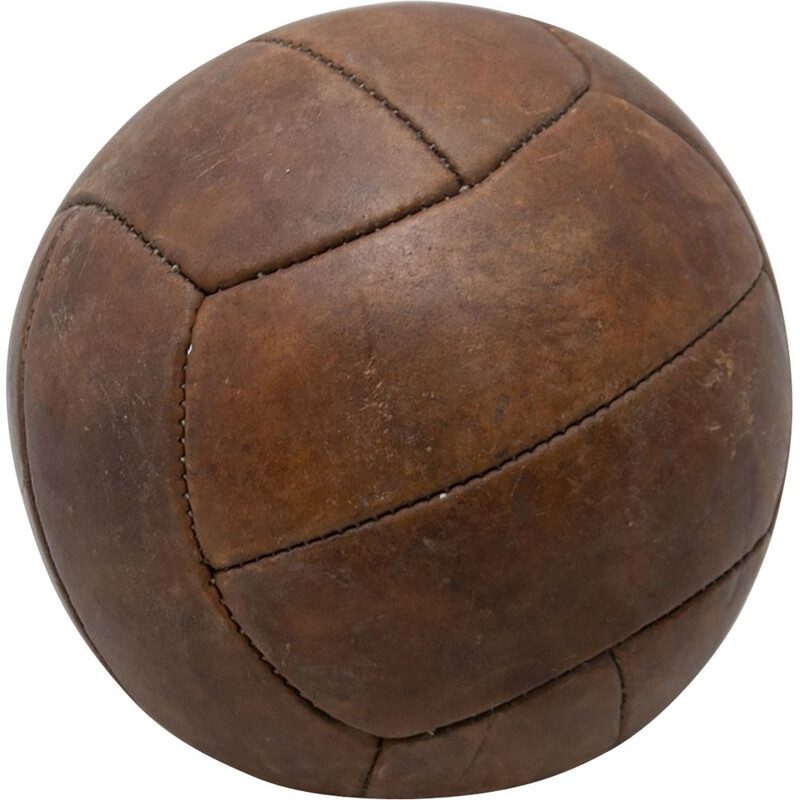 Vintage Leather Medicine Ball, Czechoslovakia 1930s