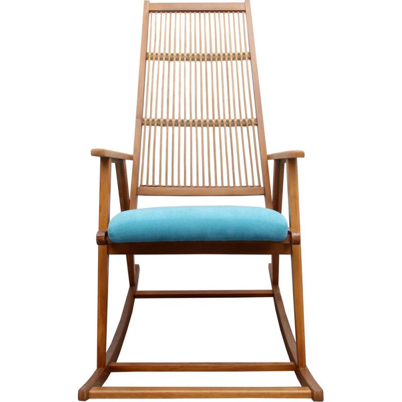 Vintage rocking chair in light blue 1950s